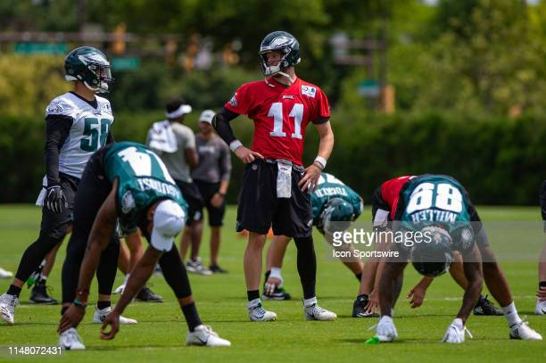 Philadelphia Eagles quarterback Carson Wentz during the Philadelphia Eagles OTA on June 3 2019 at the Novacare Training Complex in Philadelphia PA