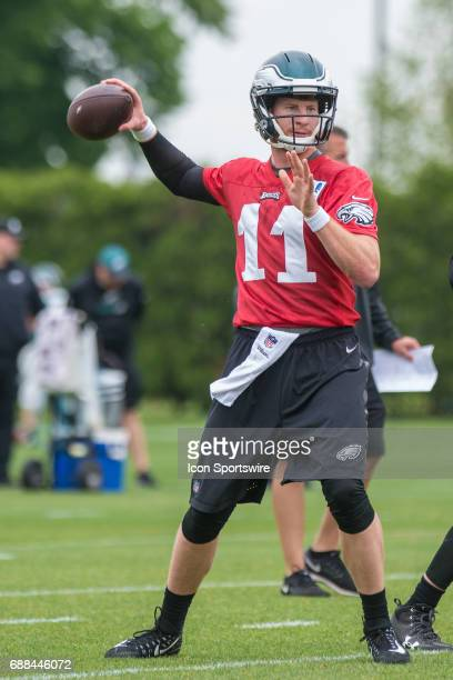 Philadelphia Eagles quarterback Carson Wentz during the Philadelphia Eagles OTA on May 23 2017 at the Novacare Training Complex in Philadelphia PA