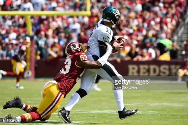 Philadelphia Eagles quarterback Carson Wentz is sacked by Washington Redskins linebacker Zach Brown on September 10 at FedExField in Landover MD