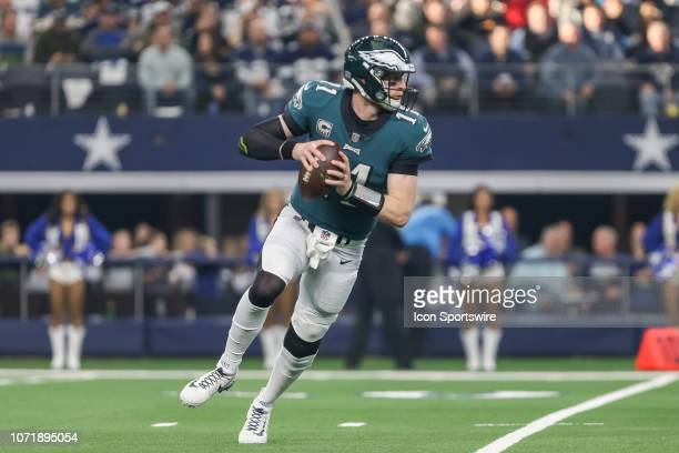 Philadelphia Eagles quarterback Carson Wentz looks downfield for an open receiver during the game between the Dallas Cowboys and the Philadelphia...