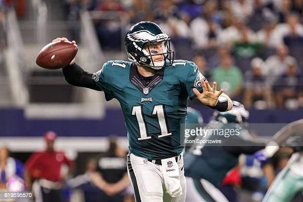 Philadelphia Eagles Quarterback Carson Wentz throws a pass during the NFL game between the Philadelphia Eagles and Dallas Cowboys on October 30 at...