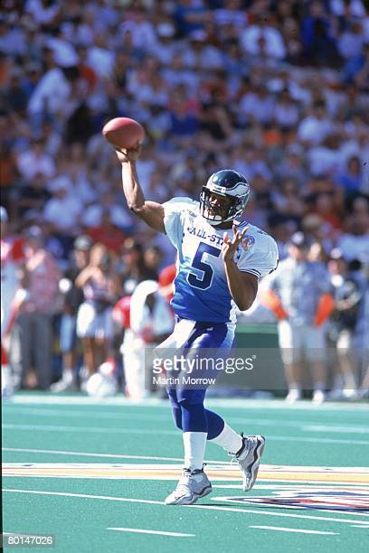 Philadelphia Eagles quarterback Donovan McNabb of the NFC throws a pass against the AFC in the 2001 NFL Pro Bowl at Aloha Stadium on February 4 2001...