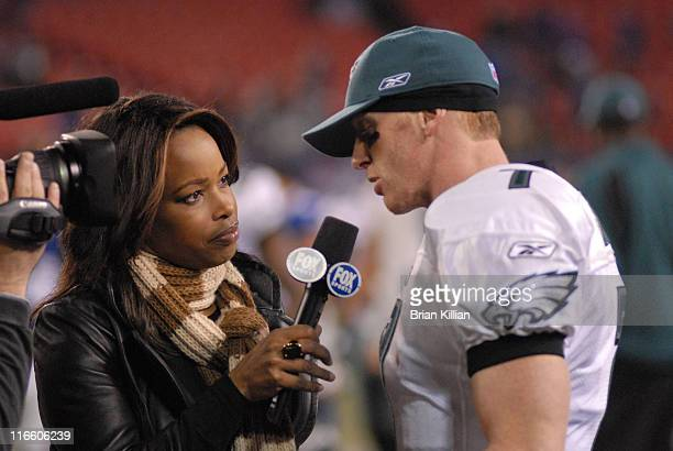 Philadelphia Eagles quarterback Jeff Garcia is interviewed by Fox Sports Pam Oliver at the conclusion of the game aginst the New York Giants at...