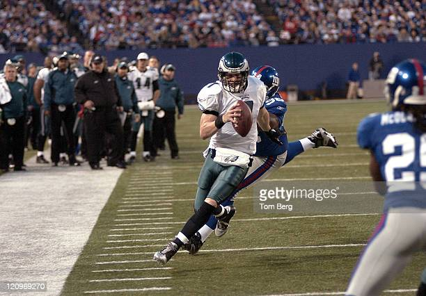 Philadelphia Eagles quarterback Jeff Garcia scrambles to get out of bounds while New York Giants defensive tackle Fred Robbins tries to tackle him...