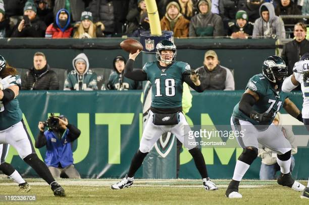 Philadelphia Eagles quarterback Josh McCown throws a pass during the Playoff game between the Seattle Seahawks and the Philadelphia Eagles on January...