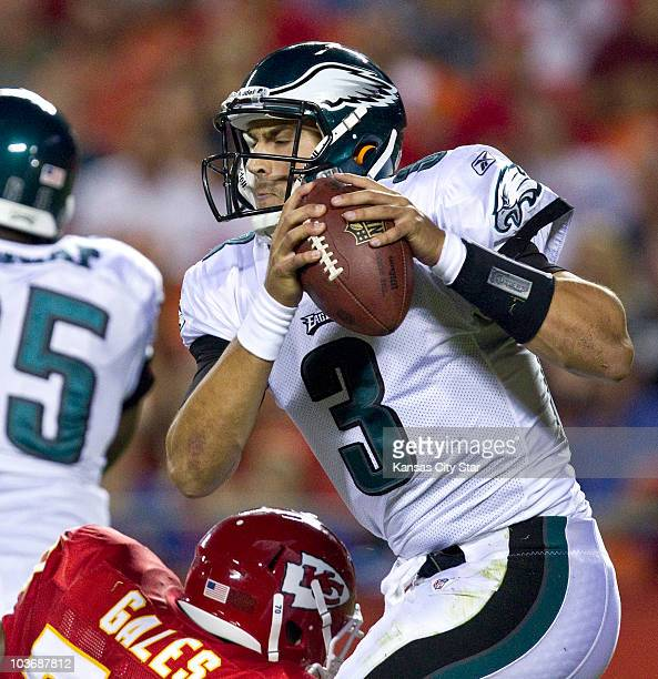 Philadelphia Eagles quarterback Mike Kafka is sacked by Kansas City Chiefs defensive tackle Dion Gales in the fourth quarter at Arrowhead Stadium in...