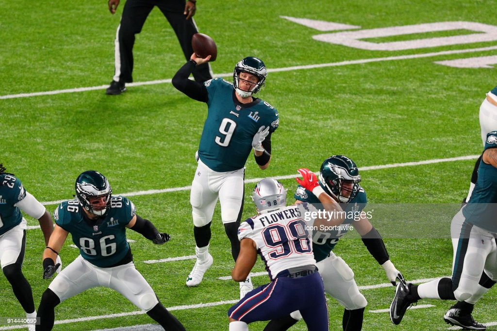 Philadelphia Eagles quarterback Nick Foles (9) back to pass during the first quarter of Super Bowl LII on February 4, 2018, at U.S. Bank Stadium in Minneapolis, MN.