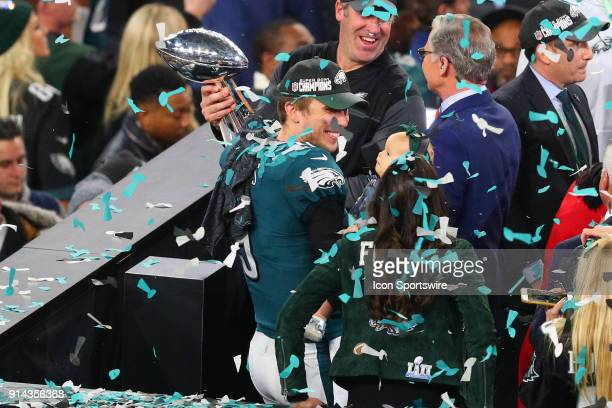 Philadelphia Eagles quarterback Nick Foles holds his baby daughter after winning Super Bowl LII on February 4 at US Bank Stadium in Minneapolis MN
