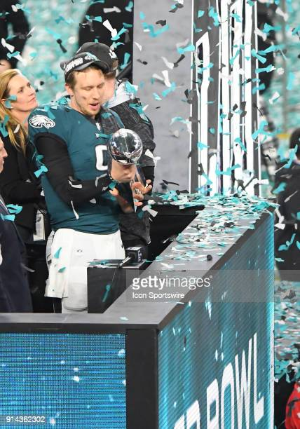 Philadelphia Eagles Quarterback Nick Foles holds the Vince Lombardi Trophy after Super Bowl LII on February 04 2018 at US Bank Stadium in Minneapolis...