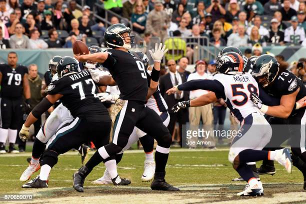 Philadelphia Eagles quarterback Nick Foles launches a long pass for a first down late in the game as Denver Broncos lose 5123 to the Philadelphia...