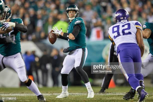Philadelphia Eagles quarterback Nick Foles looks to throw the football during the NFC Championship Game between the Minnesota Vikings and the...