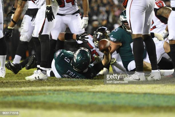 Philadelphia Eagles quarterback Nick Foles recovers a fumble on the one yard line during the NFC Divisional Playoff game between the Philadelphia...