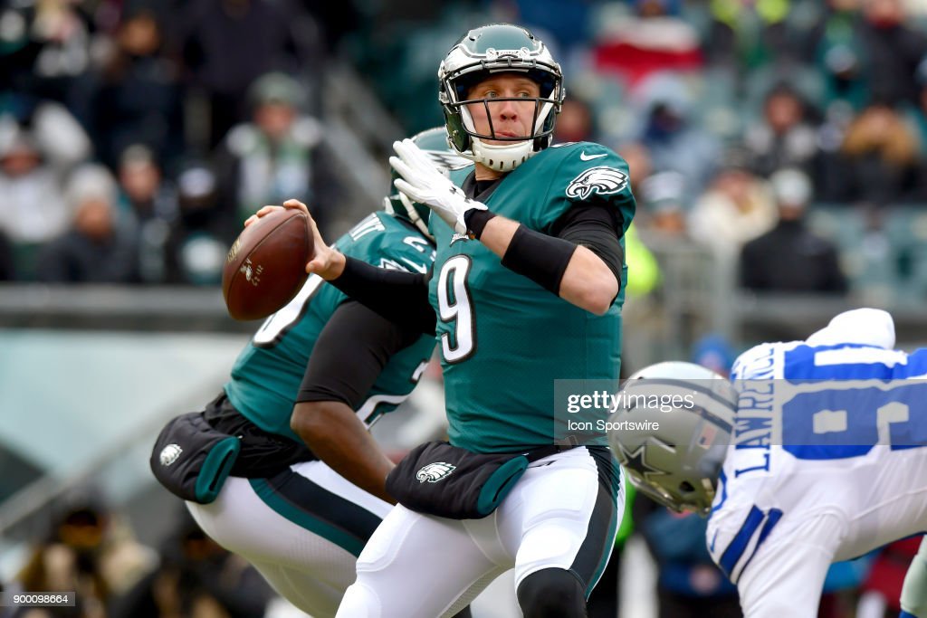 Philadelphia Eagles quarterback Nick Foles (9) throws from the pocket during the NFL game between the Dallas Cowboys and the Philadelphia Eagles on December 31, 2017 at Lincoln Financial Field in Philadelphia PA.