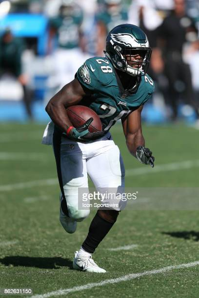 Philadelphia Eagles quarterback Wendell Smallwood runs the ball during the Philadelphia Eagles game versus the Los Angeles Chargers on October 1 at...