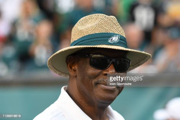 Philadelphia Eagles retired tight end Harold Carmichael looks on during the Eagles Training camp on August 4 2019 at Lincoln Financial Field in...