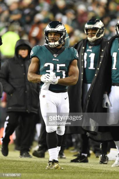 Philadelphia Eagles running back Boston Scott looks on during the Playoff game between the Seattle Seahawks and the Philadelphia Eagles on January 5...