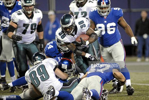 Philadelphia Eagles running back Brian Westbrook breaking tackles from New York Giants defense during the Philadelphia Eagles vs New York Giants game...