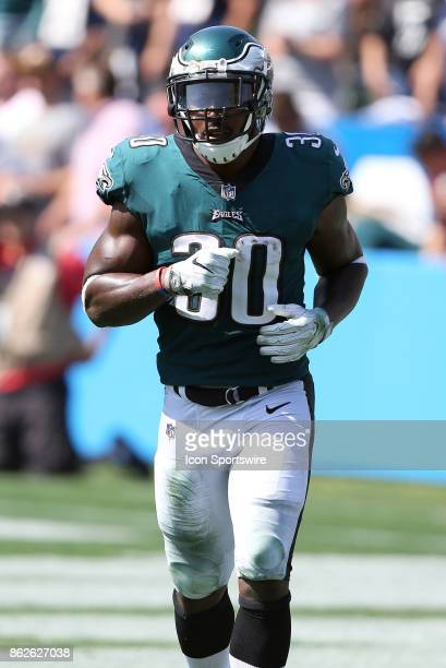 Philadelphia Eagles running back Corey Clement looks on during the Philadelphia Eagles game versus the Los Angeles Chargers on October 1 at StubHub...