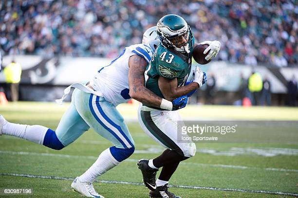 Philadelphia Eagles Running Back Darren Sproles is tackled by Dallas Cowboys Linebacker Damien Wilson on a reception in the first half during the...