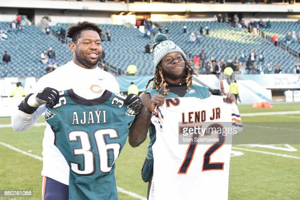Philadelphia Eagles running back Jay Ajayi swaps jerseys with Chicago Bears offensive tackle Charles Leno during a NFL football game between the...