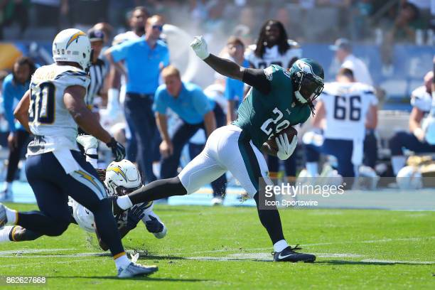 Philadelphia Eagles running back LaGarrette Blount runs the ball during the Philadelphia Eagles game versus the Los Angeles Chargers on October 1 at...