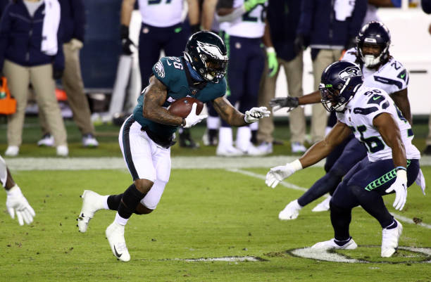 Philadelphia Eagles Running Back Miles Sanders carries the ball in the second half during the game between the Seattle Seahawks and Philadelphia...