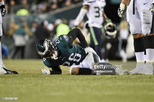 Philadelphia Eagles running back Miles Sanders holds his hip during the Playoff game between the Seattle Seahawks and the Philadelphia Eagles on...