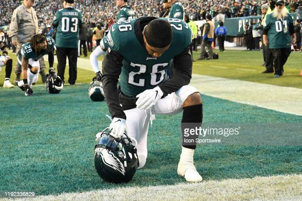 Philadelphia Eagles running back Miles Sanders takes a knee during the Playoff game between the Seattle Seahawks and the Philadelphia Eagles on...
