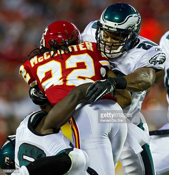 Philadelphia Eagles safety Nate Allen right puts the stop on Kansas City Chiefs wide receiver Dexter McCluster in the second quarter at Arrowhead...