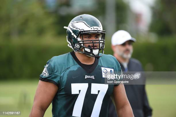 Philadelphia Eagles tackle Andre Dillard warms up during the Rookie MiniCamp on May 19 2019 at NovaCare Complex in PhiladelphiaPA Photo by Andy...