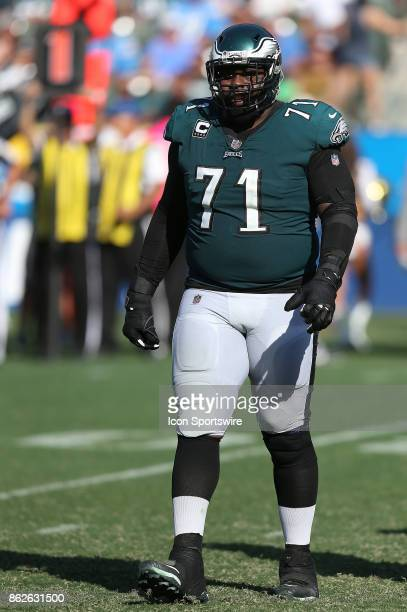 Philadelphia Eagles tackle Jason Peters looks on during the Philadelphia Eagles game versus the Los Angeles Chargers on October 1 at StubHub Center...