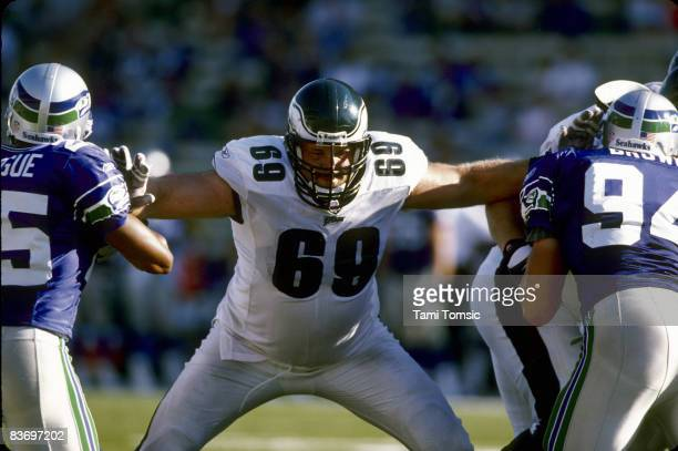 Philadelphia Eagles tackle Jon Runyan blocks two defenders during a 273 victory over the Seattle Seahawks on September 23 at Husky Stadium in Seattle...