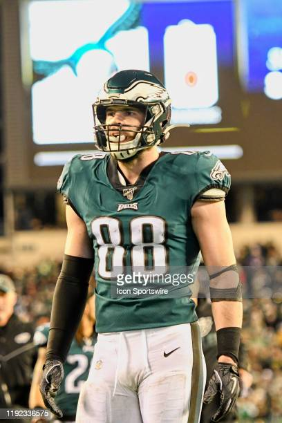 Philadelphia Eagles tight end Dallas Goedert looks on during the Playoff game between the Seattle Seahawks and the Philadelphia Eagles on January 5...