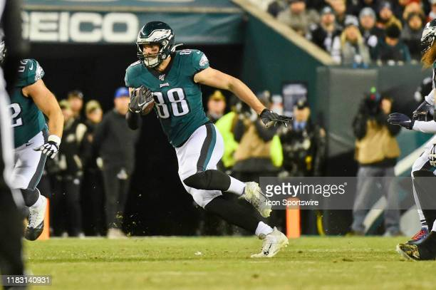 Philadelphia Eagles tight end Dallas Goedert picks up a first down during the game between the New England Patriots and the Philadelphia Eagles on...