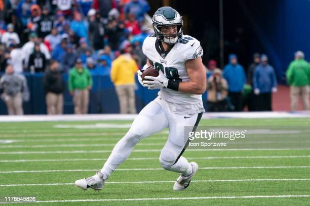 Philadelphia Eagles Tight End Dallas Goedert runs with the ball after making a catch during the second half of the National Football League game...