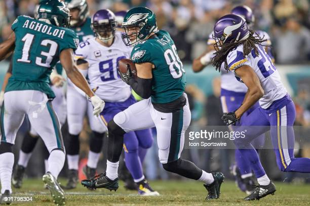 Philadelphia Eagles tight end Zach Ertz battles with Minnesota Vikings cornerback Trae Waynes during the NFC Championship Game between the Minnesota...