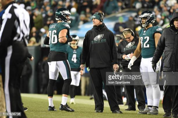 Philadelphia Eagles tight end Zach Ertz consults with coach Mike Bartrum during the Playoff game between the Seattle Seahawks and the Philadelphia...