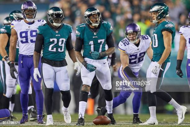 Philadelphia Eagles wide receiver Alshon Jeffery celebrates after a play during the NFC Championship Game between the Minnesota Vikings and the...