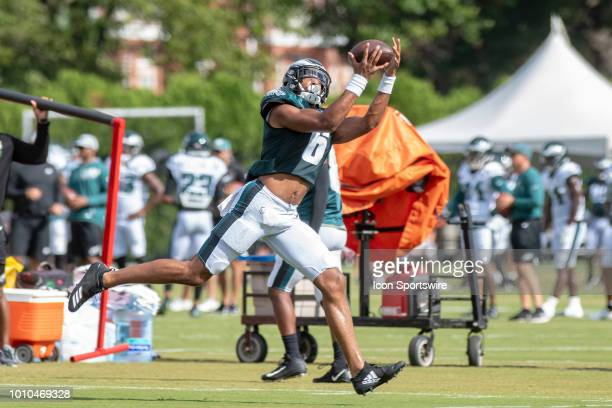 Philadelphia Eagles wide receiver Anthony Mahoungou catches a pass during Eagles Training Camp on August 2 at the NovaCare Complex in Philadelphia PA