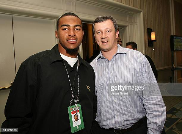 Philadelphia Eagles wide receiver DeSean Jackson and Genesco senior director of sports Greg Coleman attend the EA SPORTS Rookie Madden Bowl at the...