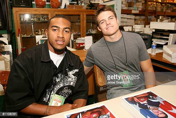 Philadelphia Eagles wide receiver DeSean Jackson and New England Patriots quarterback Kevin O'Connell poses as part of the 2008 Reebok NFL PLAYERS...
