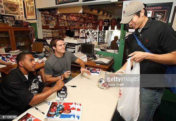 Philadelphia Eagles wide receiver DeSean Jackson and New England Patriots quarterback Kevin O'Connell sign autographs and interact with fans as part...