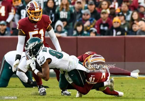 Philadelphia Eagles wide receiver Greg Ward makes a reception against Washington Redskins defensive back Danny Johnson on December 15 at FedEx Field...