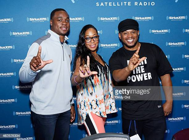 Philadelphia Eagles wide receiver Jeremy Maclin actress Tichina Arnold and radio host Sway Calloway attend SiriusXM at Super Bowl XLIX Radio Row at...