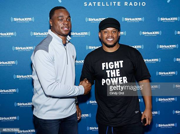 Philadelphia Eagles wide receiver Jeremy Maclin and radio host Sway Calloway attend SiriusXM at Super Bowl XLIX Radio Row at the Phoenix Convention...