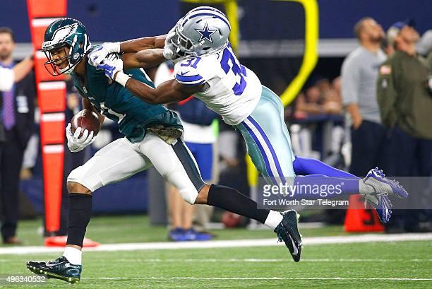 Philadelphia Eagles wide receiver Jordan Matthews runs from Dallas Cowboys cornerback Byron Jones on Sunday Nov 8 at ATT Stadium in Arlington Texas