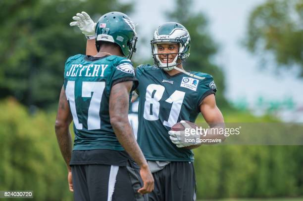Philadelphia Eagles wide receiver Jordan Matthews with new teammate Alshon Jeffery during Eagles Training Camp at The Novacare Complex in...
