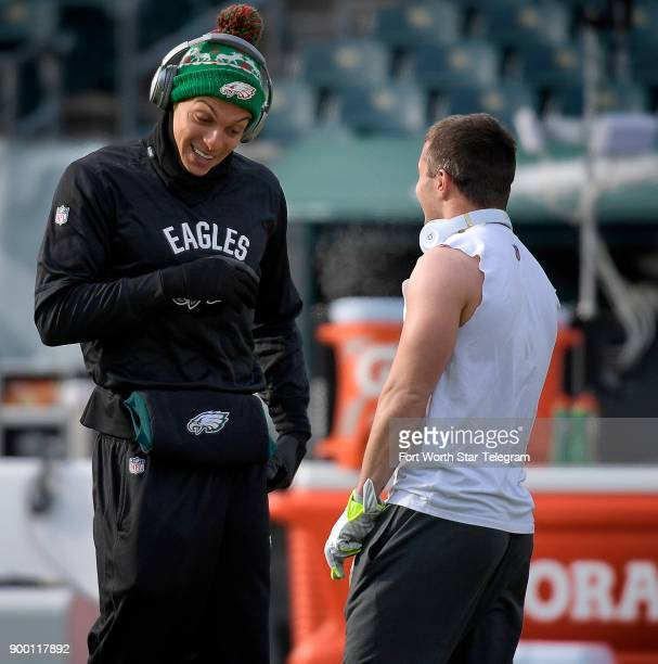 Philadelphia Eagles wide receiver Mack Hollins left questions Dallas Cowboys wide receiver Ryan Switzer's choice of warmup gear before action at...