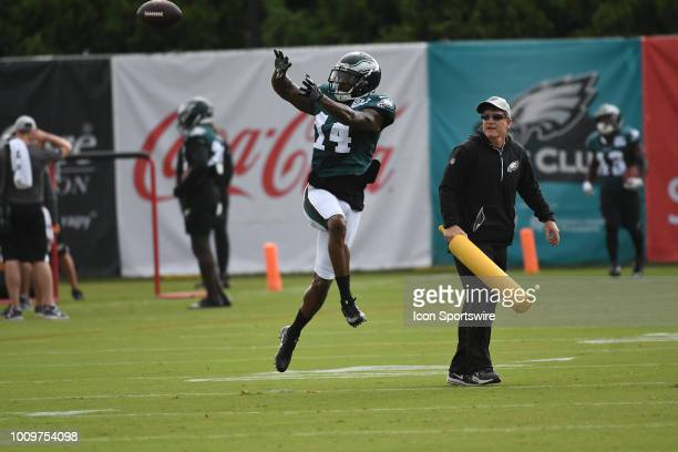 Philadelphia Eagles wide receiver Mike Wallace catches a pass during Philadelphia Eagles Training Camp on August 1 2018 at NovaCare Training Complex...