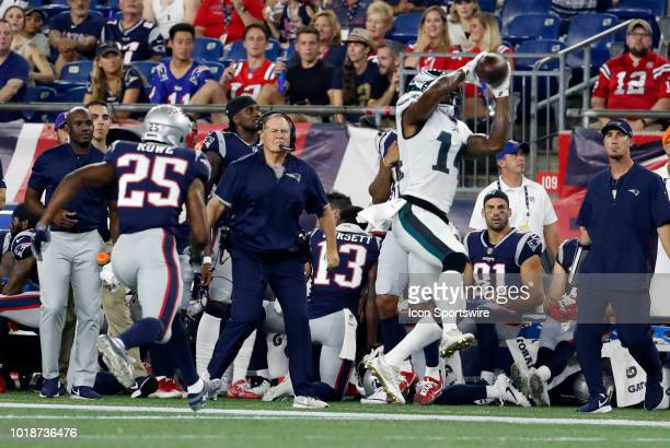 Philadelphia Eagles wide receiver Mike Wallace catches the ball during a preseason NFL game between the New England Patriots and the Philadelphia...